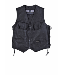 GILET WITH FRANGLES BLACK